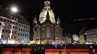Manifestação contestada do Pegida em Dresden