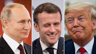 Владимир Путин, Эммануэль Макрон и Дональд Трамп