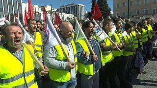 Протесты в Афинах против пенсионной реформы