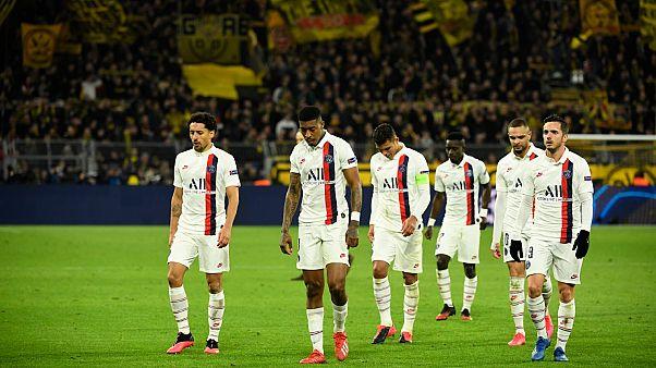 Les joueurs du PSG quittant la pelouse du Signal Iduna Park après leur défaite 2 buts à 1 contre le BvB Dortmund, le 18 février 2020.