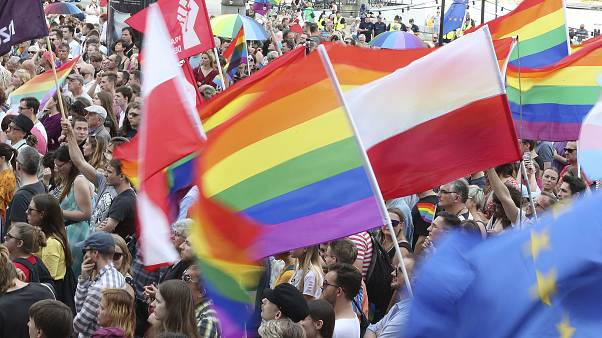 Members of the LGBT rallied to show solidarity after a Pride march was attacked city of Bialystok in 2019.