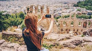 Enjoying the view from the Acropolis