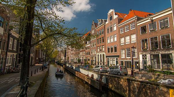 A canal in Amsterdam, Netherlands.