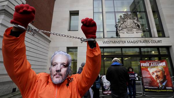 FILE PHOTO: A demonstrator supporting Julian Assange wears a mask and chains outside Westminster Magistrates Court in London, Thursday, Jan. 23, 2020.