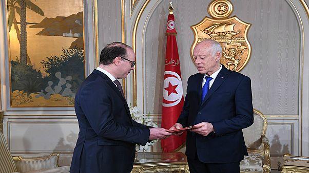 الرئيس التونسي قيس سعيد ورئيس الحكومة المكلف إلياس الفخفاخ
