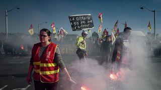 Manifestation contre les retraites à Lyon, le 20 février 2020