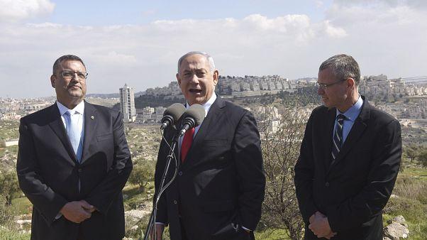 İsrail Başbakanı Netanyahu Har Homa mahallesinde