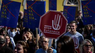 Manifestation contre l'euthanasie au Portugal, le 20 février 2020