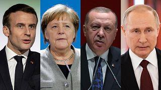 Sırayla: Fransa Cumhurbaşkanı Emmanuel Macron, Almanya Başbakanı Angela Merkel, Cumhurbaşkanı Recep Tayyip Erdoğan ve Rusya Devlet Başkanı Vladimir Putin