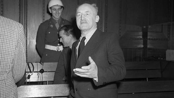 Nazi publisher and notorious anti-Semite Julius Streicher is shown in the courtroom during his trial in Nuremberg, Germany, Feb. 20, 1946.
