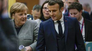 Fransa Cumhurbaşkanı Macron ve Alman Şansölye Merkel