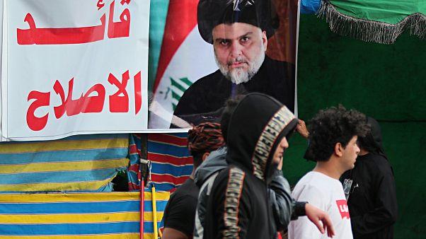 صورة لمقتدى الصدر في ميدان التحرير في بغداد 22 فبراير  2020