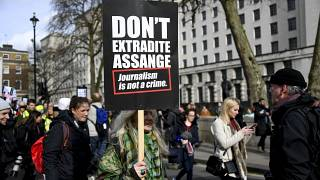 Manifestation contre l'extradition de Julian Assange, à Londres le 22 février 2020.