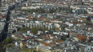 Apartment buildings in the district Mitte photographed from the television tower in Berlin, Germany.