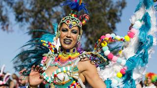 Foliões desfilam durante o Grande Corso Carnavalesco de Ovar, 23 de fevereiro de 2020. PAULO NOVAIS/LUSA
