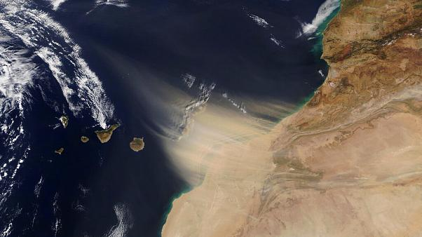 A NASA images shows the dust storm approaching the Canary Islands