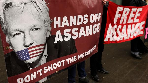 Supporters of Assange protest against his potential extradition to the US