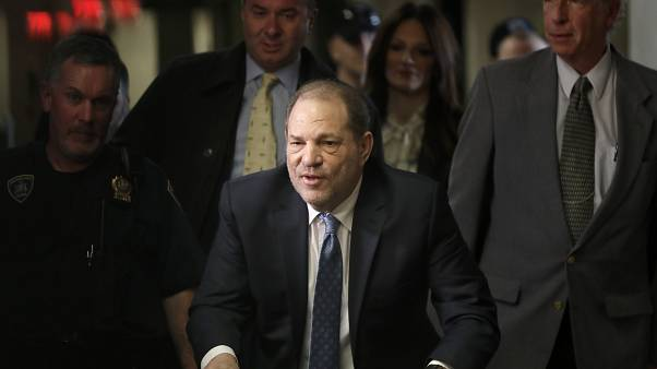 Harvey Weinstein arrives at a Manhattan courthouse for his rape trial in New York, Monday, Feb. 24, 2020. (AP Photo/Seth Wenig)