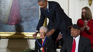 President Barack Obama presents the Presidential Medal of Freedom to Katherine Johnson in 2015