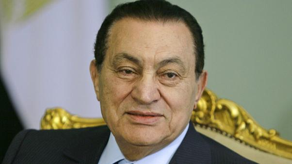 Egyptian President Hosni Mubarak looks on during a meeting at the Presidential palace in Cairo, Egypt
