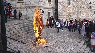 Festivalde yakılan maket