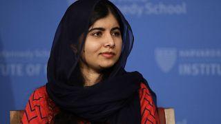 2014 Nobel Laureate Malala Yousafzai during an address at the Kennedy School's Institute of Politics at Harvard University, Thursday, Dec. 6, 2018. (AP Photo/Charles Krupa)