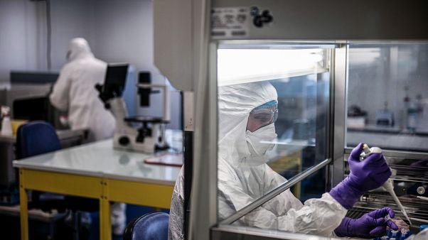 Des experts en bactériologie au travail dans un laboratoire français le 5 février 2020
