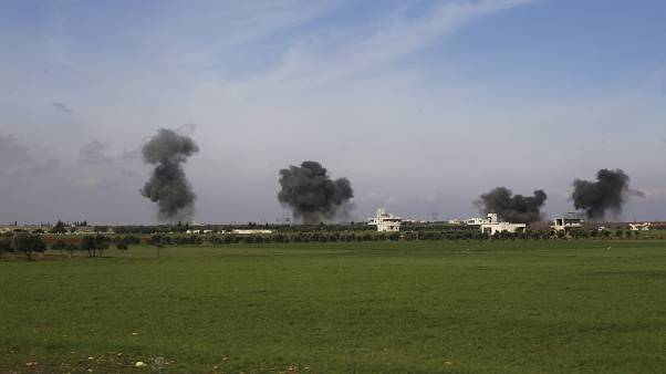 Бомбардировка города Серакиб в сирийской провинции Идлиб