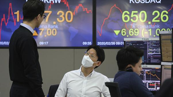 Trader in der KEB Hana Bank in Seoul