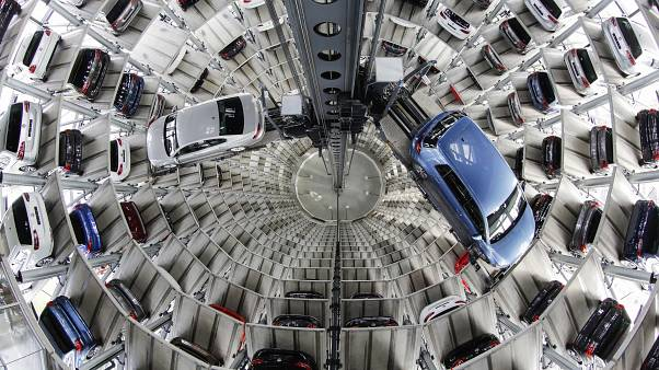 In this April 28, 2016 file photo Volkswagen cars are presented to media inside a delivery tower in Wolfsburg, Germany.