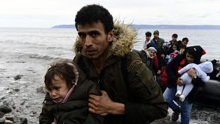 Refugees arrived in Lesbos aboard dinghies on Friday morning