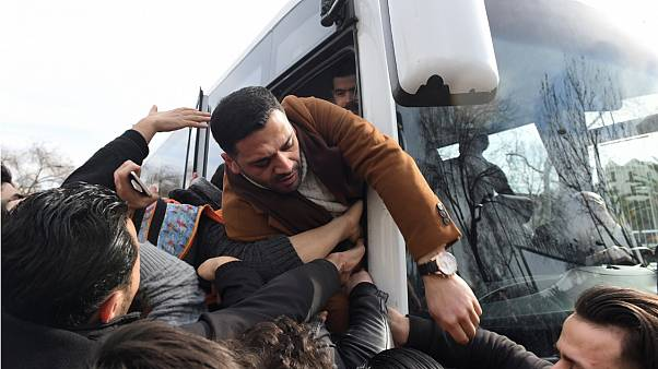 Dozens of refugees boarded buses - not linked to Bolu - bound for the Turkish border with Greece on Friday