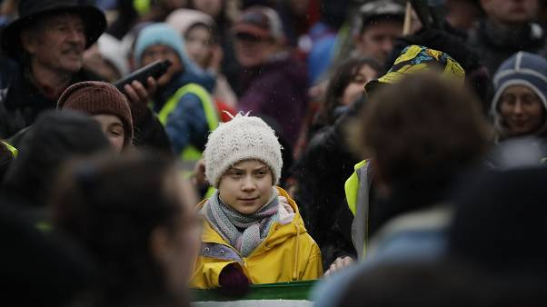 غريتا ثنبرغ تنضم لمظاهرة لأجل المناخ في بريطانيا. 2020/02/28