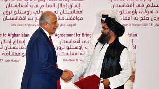 توقيع اتفاق السلام بين الولايات المتحدة وحركة طالبان في أفغانستان