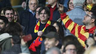 Carles Puigdemont takes in rugby game ahead of Perpignan rally