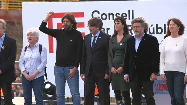 Exiled Catalan separatist leader holds rally in France