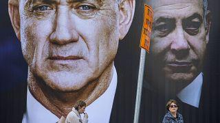ملصق انتخابي يظهر فيه بنيامين نتنياهو وبيني غانتس