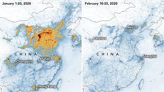 Emisiones de dióxido de nitrógeno en enero (izda.) y en febrero de este año (dcha.)