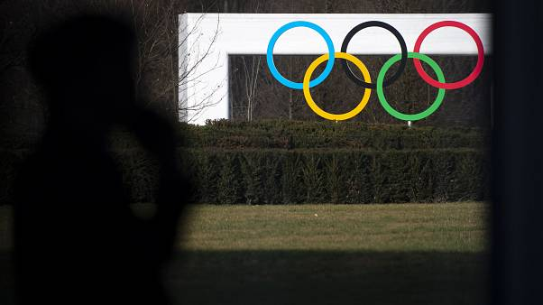 The Olympic House in Lausanne, Switzerland, Tuesday, March 3, 2020. (Laurent Gillieron/Keystone via AP)