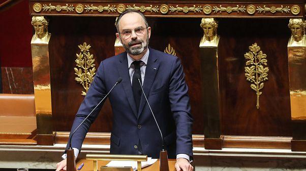 Le premier ministre français Edouard Philippe s'adresse à l'Assemblée nationale lors d'un vote de confiance suite à l'usage du 49-3 pour faire adopter la réforme des retraites