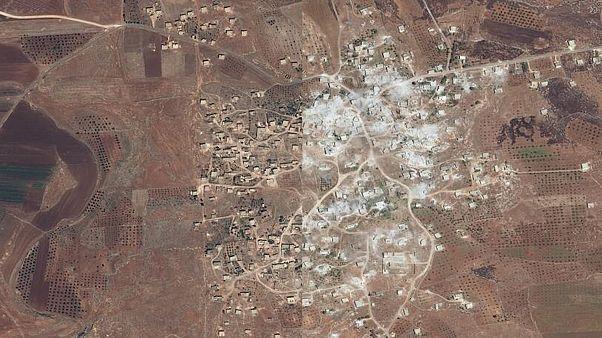 İdlib'de artan çatışmaların yıkımı uydu görüntülerinde