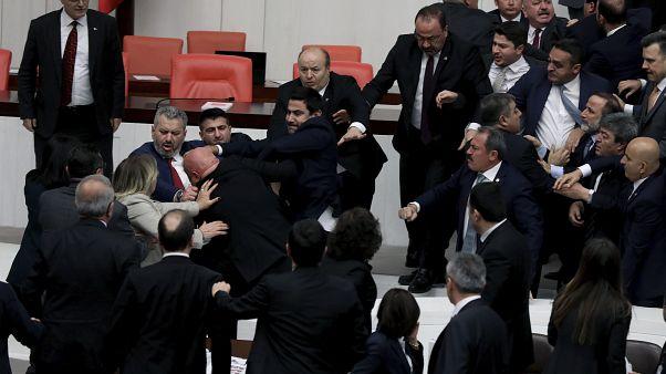 Turkey Parliament Brawl