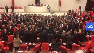 Various of legislators brawling during session at the Grand National Assembly of Turkey.