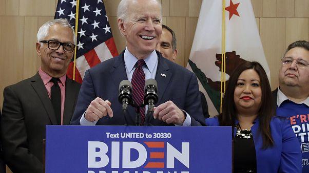 L'ancien vice-président Joe Biden, s'exprime le mercredi 4 mars 2020 à Los Angeles. (Photo AP / Marcio Jose Sanchez)