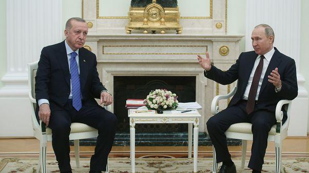 Türkiye Cumhurbaşkanı Recep Tayyip Erdoğan ve Rusya Devlet Başkanı Vladimir Putin, Moskova'da bir araya geldi