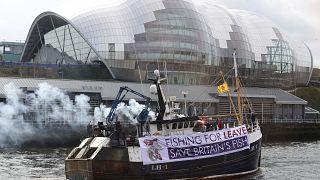 Акция протеста британских рыболовов в 2018 году.