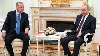 Президент Турции Тайип Эрдоган и президент России Владимир Путин во время переговоров.
