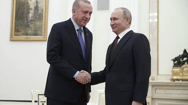 Russian President Vladimir Putin meets with his Turkish counterpart Recep Tayyip Erdogan at the Kremlin in Moscow on March 5, 2020. (Photo by Pavel Golovkin / POOL / AFP)