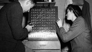 """A peep behind the scenes at the """"Electronic Brain's"""" multiplying unit at Welwyn Garden City, England on Nov. 6, 1946."""