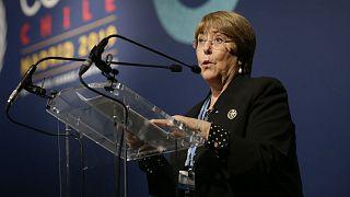 المفوضة السامية لحقوق الإنسان لدى الأمم المتحدة ميشال باشليه في قمة المناخ في مدريد. 2019/12/09 - صورة/أب، فيديو/أ ف ب